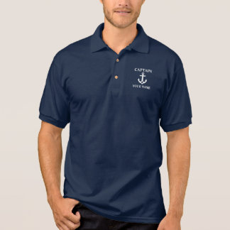 Nautical Captain Name Anchor Star Blue Polo