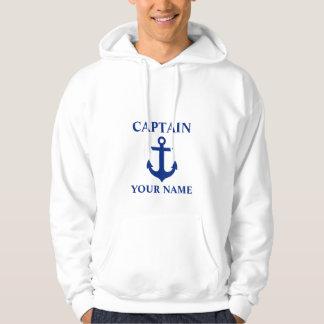 Nautical Captain Name Anchor White Hoodie