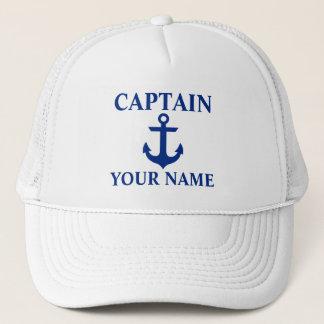 Nautical Captain Name Anchor White Trucker Hat