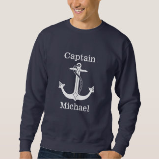 Nautical Captain White Anchor Personalized Sweatshirt