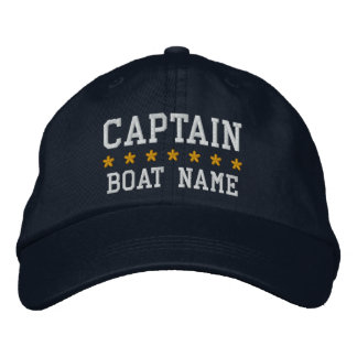 Nautical Captain Your Boat Name Cap Bl Embroidered Baseball Caps