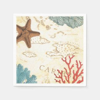Nautical Caribbean Starfish Rustic Map and Coral Disposable Napkins