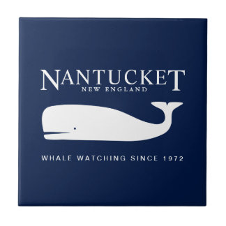 Nautical Ceramic Tile, Nantucket Whale Watch Badge Tile