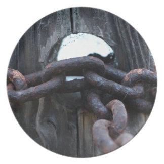 Nautical Chain - rusty chain around fence post Plates