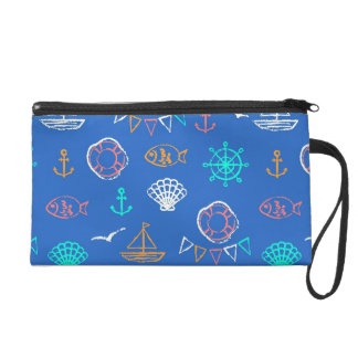 Nautical Chalk Drawing Pattern 1 Wristlet Clutches
