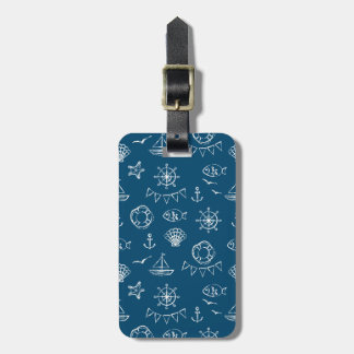 Nautical Chalk Drawing Pattern 2 Luggage Tag