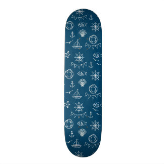 Nautical Chalk Drawing Pattern 2 Skate Board Deck