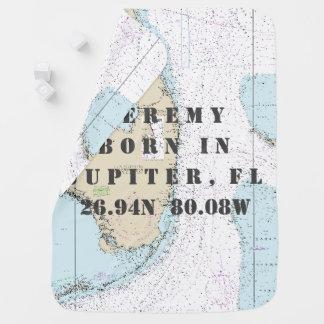 Nautical Chart Latitude Longitude South Florida Swaddle Blankets