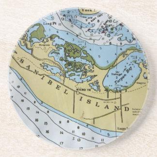 Nautical Chart Sanibel Coaster