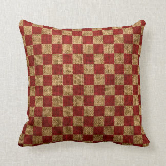 Nautical Check in Rustic Red Throw Pillow