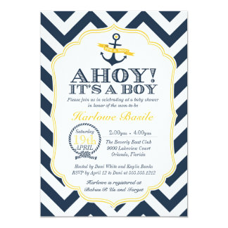 "Nautical Chevron Baby Boy Shower Invitation 5"" X 7"" Invitation Card"