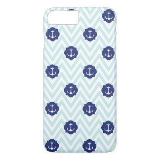 Nautical Chevron Navy Blue Anchors Pattern iPhone 7 Plus Case