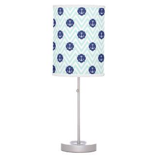 Nautical Chevron Navy Blue Anchors Pattern Table Lamp