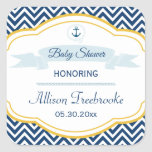Nautical chevron navy gold baby boy shower sticker
