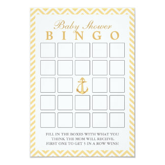 Nautical Chevron Stripes Baby Shower Bingo Cards
