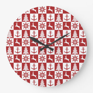 Nautical Christmas Large Clock