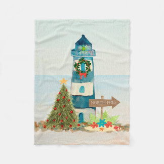 Nautical Christmas Lighthouse Fleece Blanket