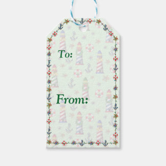 Nautical Christmas Lighthouses on Green Background Pack Of Gift Tags