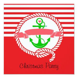 Nautical Christmas Party Invitation Santa and Sail