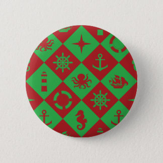 Nautical christmas pattern 2 inch round button