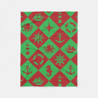 Nautical christmas pattern fleece blanket
