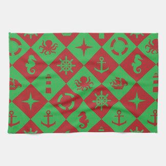 Nautical christmas pattern kitchen towel