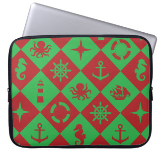 Nautical christmas pattern laptop sleeve