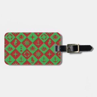 Nautical christmas pattern luggage tag