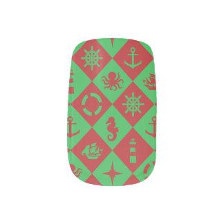 Nautical christmas pattern minx nail art