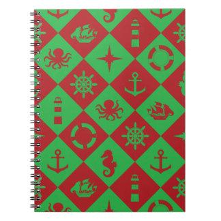 Nautical christmas pattern notebook
