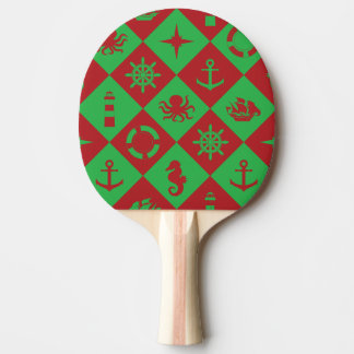 Nautical christmas pattern ping pong paddle