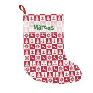 Nautical Christmas pattern Small Christmas Stocking