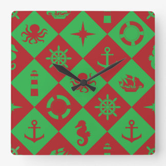 Nautical christmas pattern square wall clock
