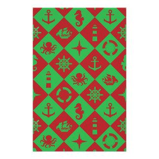 Nautical christmas pattern stationery