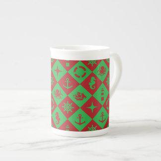Nautical christmas pattern tea cup