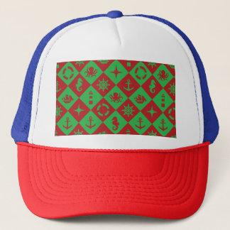 Nautical christmas pattern trucker hat