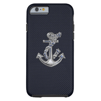 Nautical Chrome Anchor on Carbon Fiber Print Tough iPhone 6 Case