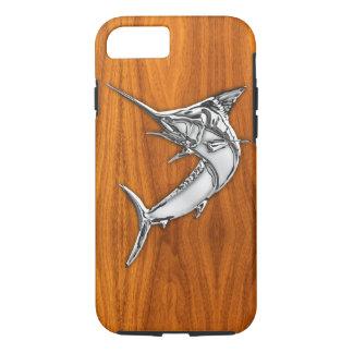 Nautical Chrome Blue Marlin on Teak Wood Print Case-Mate iPhone Case