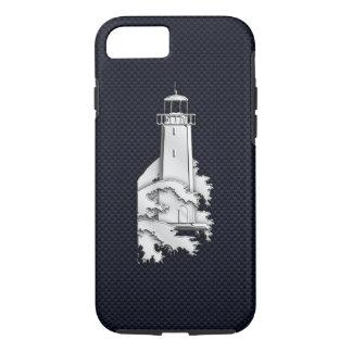 Nautical Chrome Lighthouse on Carbon Fibre Print iPhone 7 Case