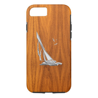 Nautical Chrome Sail Boat on Teak Wood Print iPhone 8/7 Case