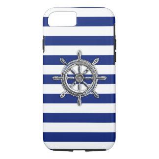 Nautical Chrome Wheel on Navy Stripes Print iPhone 7 Case