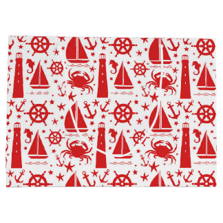 Nautical Collage in Red Large Gift Bag