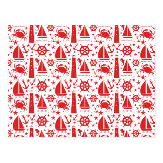 Nautical Collage in Red Postcard
