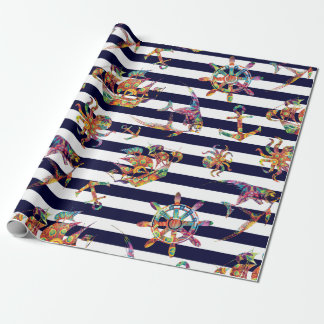 Nautical colorful striped  pattern wrapping paper