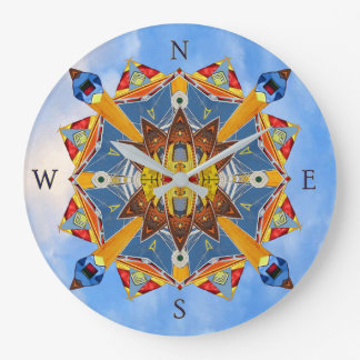 Nautical Compass Kaleidoscope Wall Clock