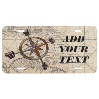 Nautical Compass License Plate