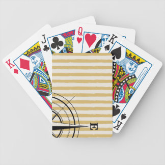 Nautical Compass NSEW Stripes Ivory Taupe Black Bicycle Playing Cards