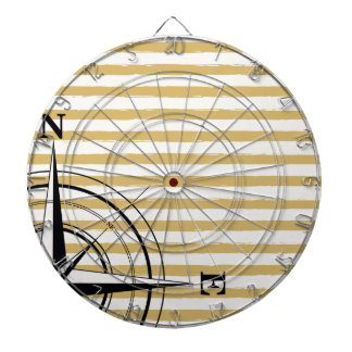 Nautical Compass NSEW Stripes Ivory Taupe Black Dartboard