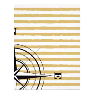 Nautical Compass NSEW Stripes Ivory Taupe Black Letterhead