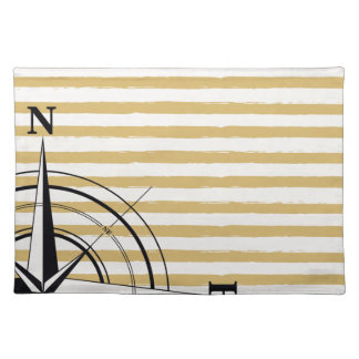 Nautical Compass NSEW Stripes Ivory Taupe Black Placemat